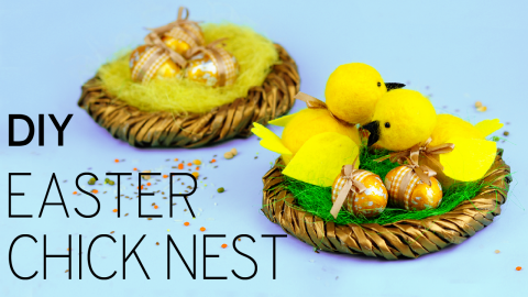 DIY Outdoor Easter Decorations - Chick Nest