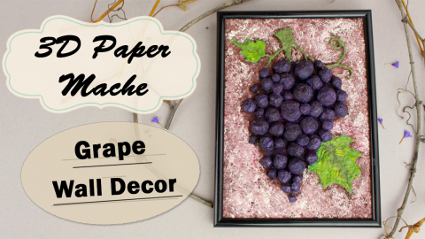 DIY 3D Paper Mache Grape Bunch Wall Decor