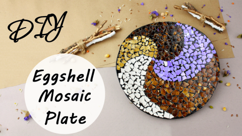 DIY Eggshell Mosaic Plate Wall Decor