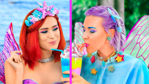 8 DIY Amazing Mermaid Food vs Fairy Food Challenge!