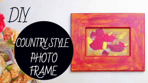 Country Style Handmade Photo Frame in Drybrush Technique