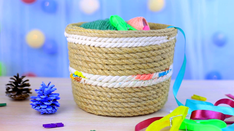 DIY Decorative Rope Eco Basket