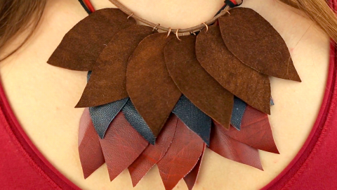 DIY Leather Leaf Necklace