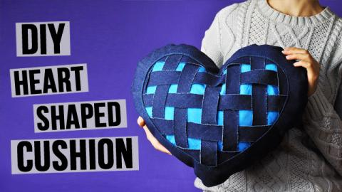DIY Heart Shaped Denim Cushion