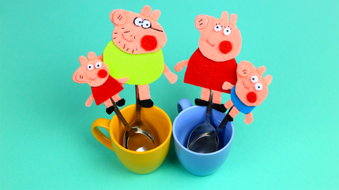 DIY Peppa Pig Family Felt Magnets