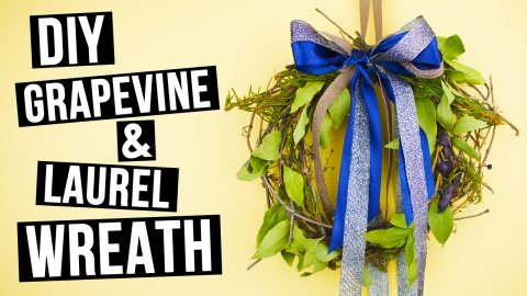 DIY Grapevine and Laurel Door Wreath