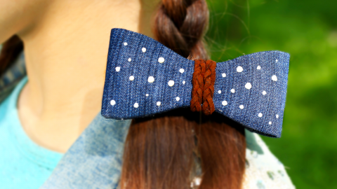 DIY Denim Hair Bows for Girls