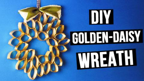 DIY Golden-daisy Wreath from Cardboard Rolls