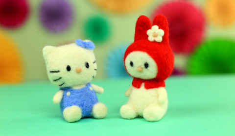 DIY Hello Kitty Needle Felted Toys