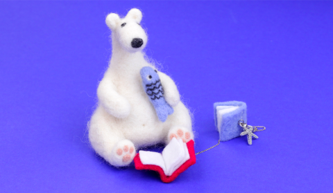 DIY Needle Felting Polar Bear Toy and Books Keychain